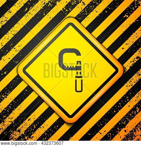Black Micrometer Icon Isolated On Yellow Background. Measuring Engineer Tool. Universal Device Desig