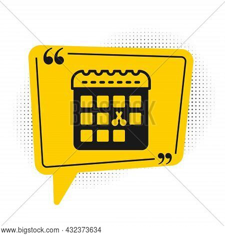 Black Calendar With Haircut Day Icon Isolated On White Background. Haircut Appointment Concept. Yell