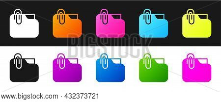 Set Document Folder With Paper Clip Icon Isolated On Black And White Background. Accounting Binder S
