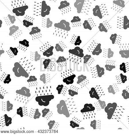 Black Cloud With Rain Icon Isolated Seamless Pattern On White Background. Rain Cloud Precipitation W