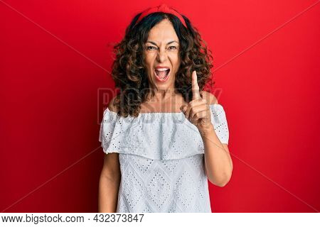 Middle age hispanic woman wearing casual clothes pointing finger up with successful idea. exited and happy. number one.