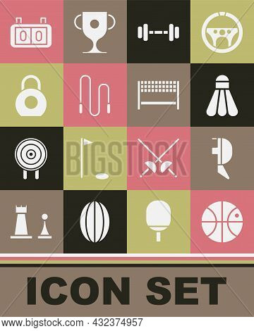 Set Basketball Ball, Fencing Helmet Mask, Badminton Shuttlecock, Dumbbell, Jump Rope, Kettlebell, Sp