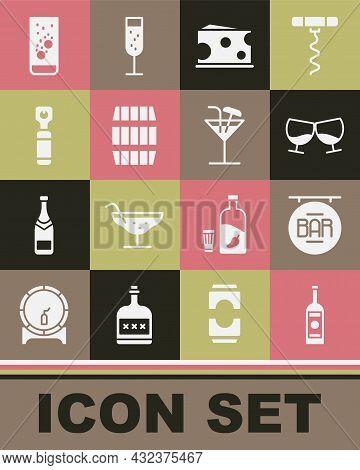 Set Glass Bottle Of Vodka, Street Signboard With Bar, Cognac Or Brandy, Cheese, Wooden Barrel, Bottl