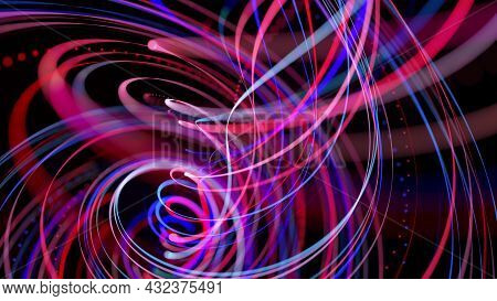 Abstract Background With Light Trails, Stream Of Red Blue Neon Lines In Space Form Spiral Shapes. Mo
