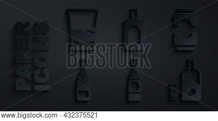 Set Beer Bottle, Can, Champagne, Vodka With Pepper And Glass, Whiskey And Glass Of Vodka Icon. Vecto