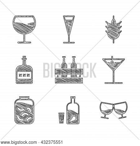 Set Pack Of Beer Bottles, Vodka With Pepper And Glass, Glass Cognac Or Brandy, Martini, Pickled Cucu
