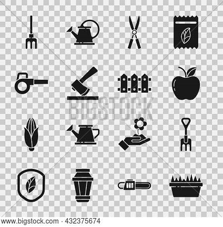 Set Fresh Grass In A Rectangular, Garden Rake, Apple, Gardening Handmade Scissors, Wooden Axe, Leaf