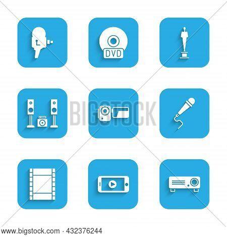Set Cinema Camera, Online Play Video, Movie, Film, Media Projector, Microphone, Play Video, Home Ste