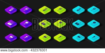 Set Lock And Key, Unlocked, Undefined, Car With Remote And Icon. Vector