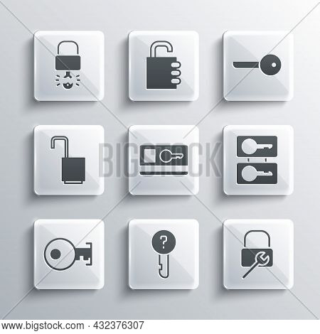 Set Undefined Key, Lock Repair, Casting Keys, Key Card, Open Padlock, Broke Inside Of And Icon. Vect