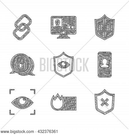 Set Shield And Eye, Firewall, Security Wall, With Cross Mark, Mobile Face Recognition, Eye Scan, Cyb