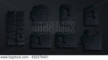 Set Resume, Clipboard With Resume, Productive Human, Mobile And Head Hunting Icon. Vector