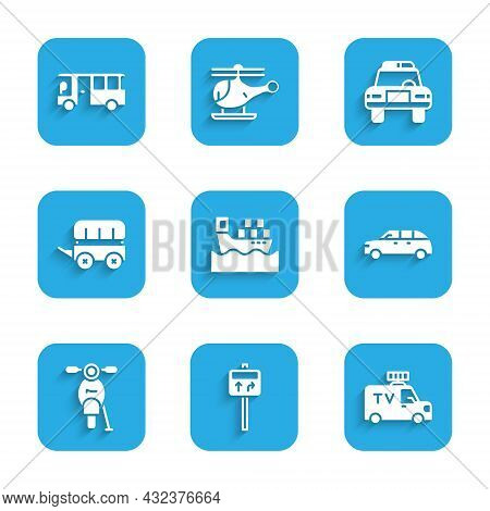 Set Cargo Ship With Boxes, Road Traffic Signpost, Tv News Car, Hatchback, Scooter, Wild West Covered