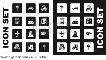 Set Police Car And Flasher, Boat With Oars, Delivery Cargo Truck, Road Traffic Signpost, Broken Road