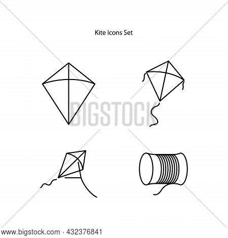 Kite Icons Set Isolated On White Background. Kite Icon Thin Line Outline Linear Kite Symbol For Logo