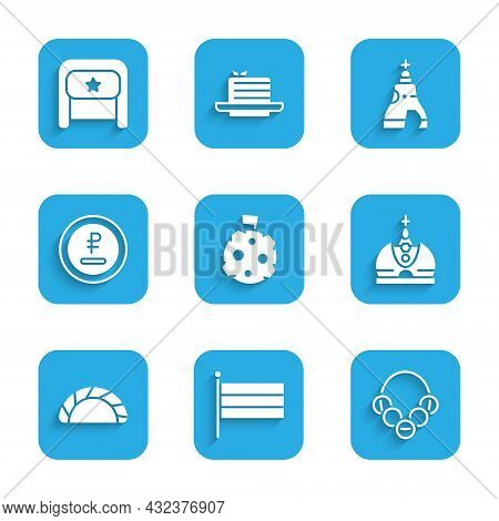 Set Moon With Flag, National Russia, Russian Bagels, King Crown, Dumpling, Rouble, Ruble Currency, T
