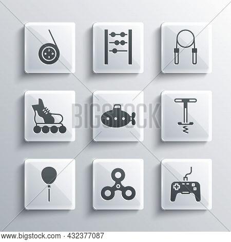 Set Fidget Spinner, Gamepad, Pogo Stick Jumping Toy, Submarine, Balloons With Ribbon, Roller Skate,