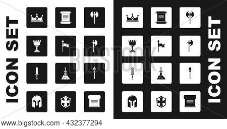 Set Medieval Axe, Spear, Goblet, King Crown, Decree, Parchment, Scroll, And Sword Icon. Vector