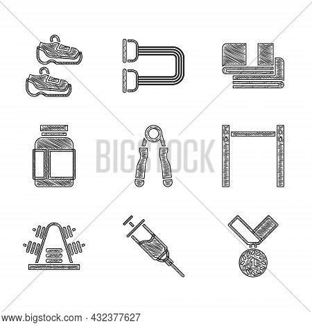 Set Sport Expander, Doping Syringe, Medal, Horizontal Bar, Metal Rack With Weights, Sports Nutrition