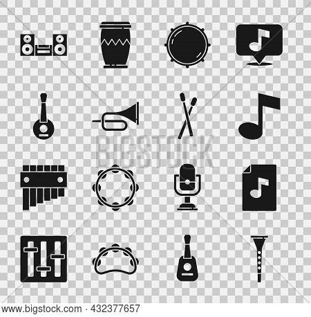 Set Clarinet, Music Book With Note, Note, Tone, Dial Knob Level, Trumpet, Banjo, Home Stereo And Dru