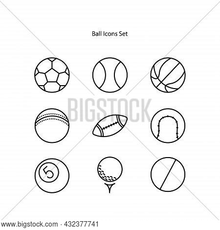 Beach Ball Icons Set Isolated On White Background. Beach Ball Icon Thin Line Outline Linear Beach Ba