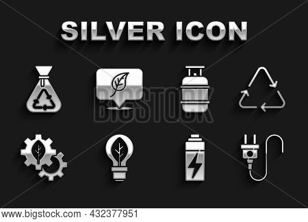 Set Light Bulb With Leaf, Recycle Symbol, Electric Plug, Battery, Leaf Plant In Gear Machine, Propan