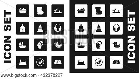 Set Baby Shoes, Pyramid Toy, Bottle, Bathtub, Bib, Socks Clothes, Rubber Duck And Stroller Icon. Vec