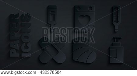Set Gypsum, Medical Thermometer, Crossed Bandage Plaster, Hand Sanitizer Bottle, Doctor Appointment