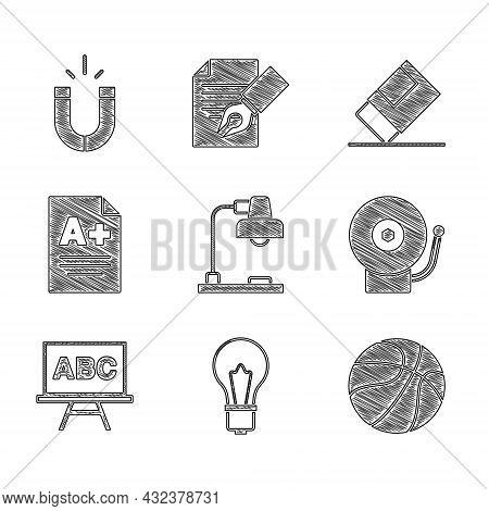 Set Table Lamp, Light Bulb With Idea, Basketball Ball, Ringing Alarm Bell, Chalkboard, Exam Sheet A