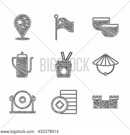 Set Noodles In Box And Chopsticks, Chinese Yuan Currency, Great Wall Of China, Conical Straw Hat, Go