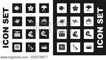 Set Stingray, Eel Fish, Tropical, Fish Hedgehog, Caviar, Starfish, Octopus Of Tentacle And Cutting B