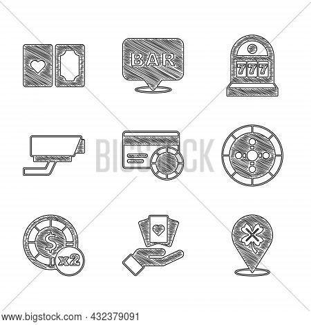 Set Credit Card, Hand Holding Playing Cards, Casino Slot Machine With Clover, Roulette Wheel, Chips,