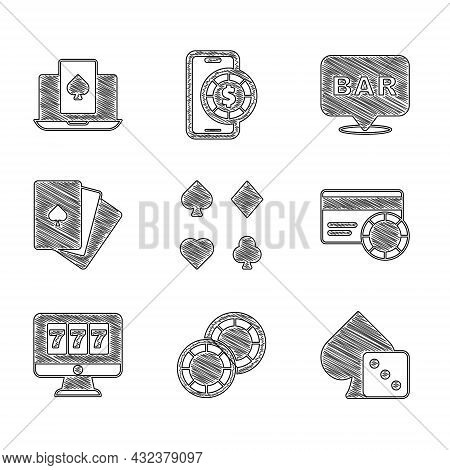 Set Deck Of Playing Cards, Casino Chips, Game Dice, Credit, Online Slot Machine With Jackpot, Alcoho