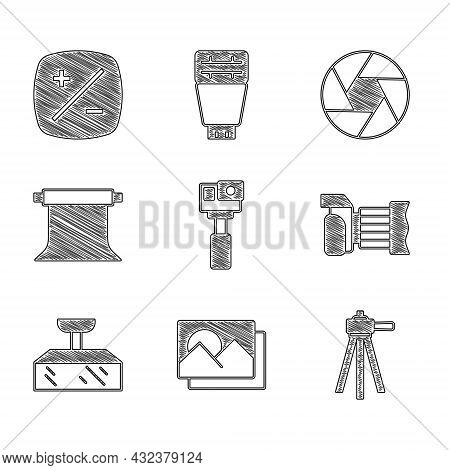 Set Action Camera, Photo Frame, Tripod, Softbox Light, Empty Photo Studio, Camera Shutter And Exposu