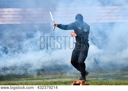 A Police Swat Team Operation Training. Blur. Smoke. Motion: Abakan, Russia - August 21, 2018
