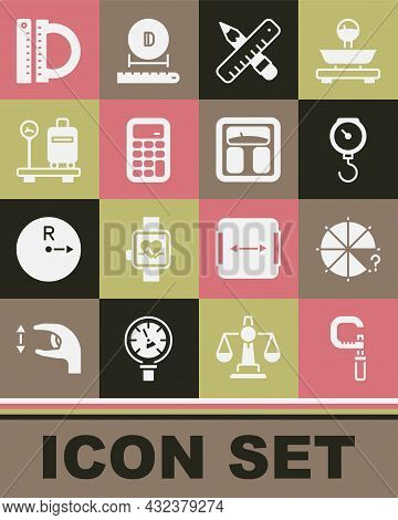 Set Micrometer, Circle Of Pieces, Hand Scale Spring Mechanical, Crossed Ruler Pencil, Calculator, Sc
