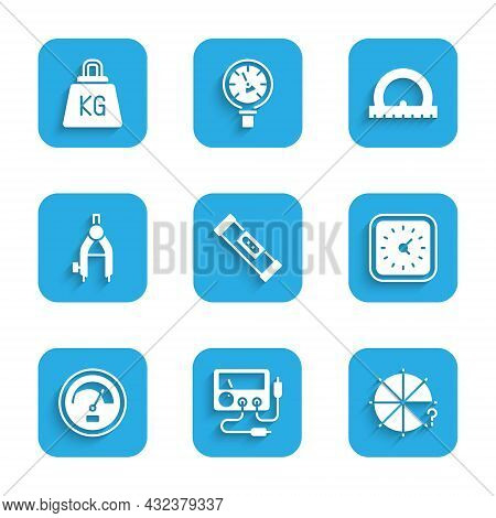 Set Construction Bubble Level, Multimeter, Voltmeter, Circle Of Pieces, Clock, Speedometer, Drawing