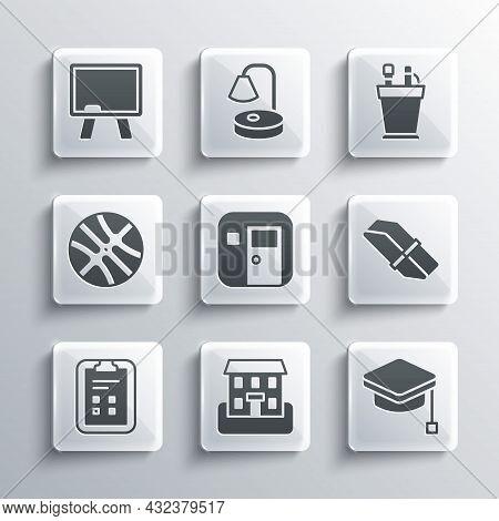 Set School Building, Graduation Cap, Eraser Or Rubber, Classroom, Exam Sheet With Check Mark, Basket