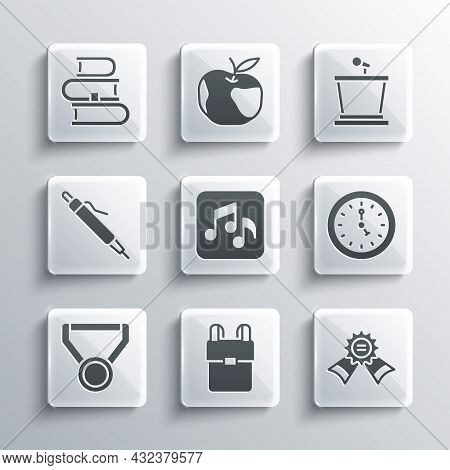 Set School Backpack, Medal, Clock, Music Note, Tone, Pen, Book And Stage Stand Icon. Vector