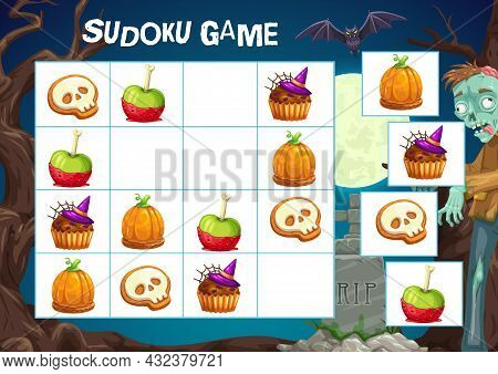 Child Sudoku Game With Halloween Treats. Kids Logical Exercise, Children Puzzle Playing Activity. Ca