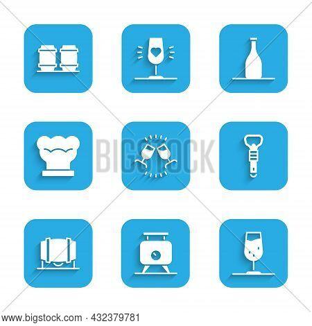 Set Wine Tasting, Degustation, Fermentation Of Grapes, Glass, Bottle Opener, Wooden Barrel For Wine,