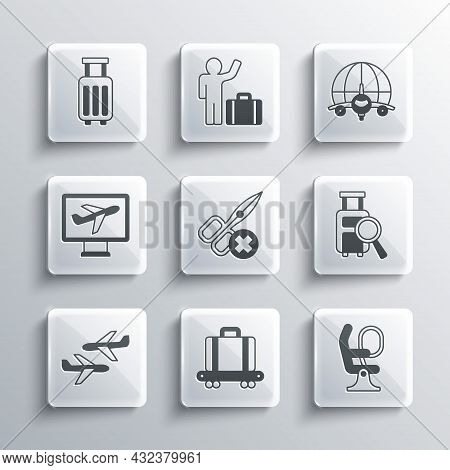 Set Conveyor Belt With Suitcase, Airplane Seat, Lost Baggage, No Scissors, Plane, Suitcase And Globe