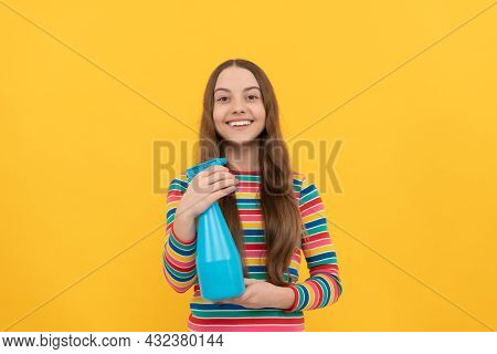 For All Cleaning Needs. Happy Girl Hold Spraying Bottle. Cleaning Spray Product. Disinfection