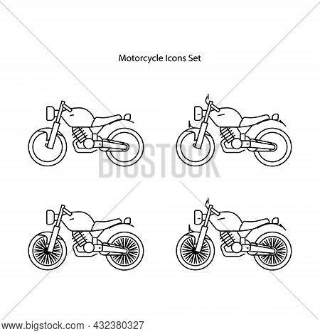 Motorcycle Icons Set Isolated On White Background. Motorcycle Icon Thin Line Outline Linear Motorcyc