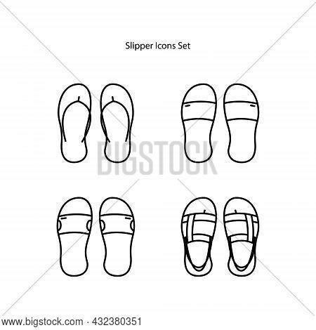 Slippers Icons Set Isolated On White Background. Slippers Icon Thin Line Outline Linear Slippers Sym