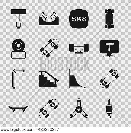 Set Screwdriver, Longboard Or Skateboard, Skateboard T Tool, Wheel, And Icon. Vector