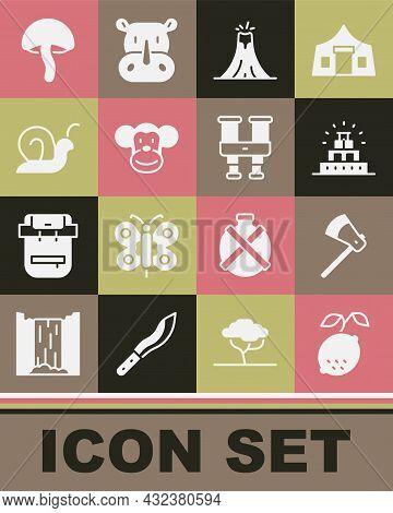 Set Lemon, Wooden Axe, Chichen Itza In Mayan, Volcano Eruption, Monkey, Snail, Mushroom And Binocula
