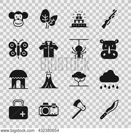 Set Machete, Cloud With Rain, Rhinoceros, Chichen Itza Mayan, Shirt, Butterfly, Monkey And Spider Ic