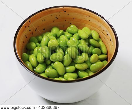 Steamed Soybean Seeds Known As Edamame Beans, Healthy Food Concept