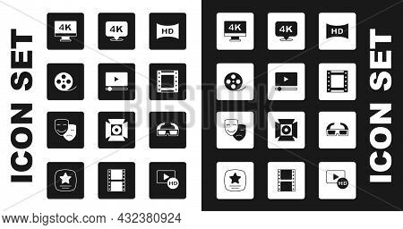 Set Hd Movie, Tape, Frame, Online Play Video, Film Reel, Screen Tv With 4k, Play, Ultra Hd, 3d Cinem